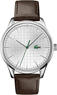 Lacoste Men's Stainless Steel Quartz Watch with Leather Calfskin Strap, Brown, 20 (Model: 2011101)