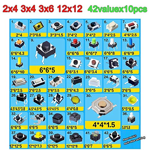 42valuesx10pcs=420pcs Tact Switch Kit 24 34 36 66 1212mm Tactile Push Button Switches 2x4 3x4 3x6 6x6 12x12 mm Micro Switch