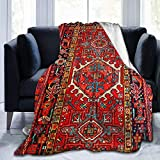 Microfleece Throw Blanket Iran Persian Carpet Oriental Glam Iranian Ethnic Traditional Tribal Cozy Comfy Throw Blanket for Couch Sofa Soft Light Weight Blankets for Women Kids