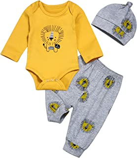 Newborn Baby Boy Girl Clothes Lion Romper Yellow Bodysuit Pants Fall Winter Infant Outfit Set