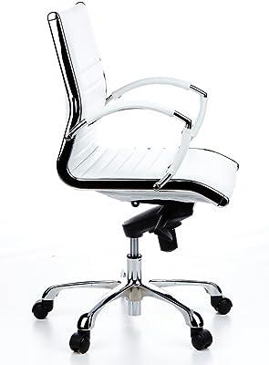 hjh OFFICE Parma 10 Silla de Oficina, Piel, Crema, 50.0x60.0x111
