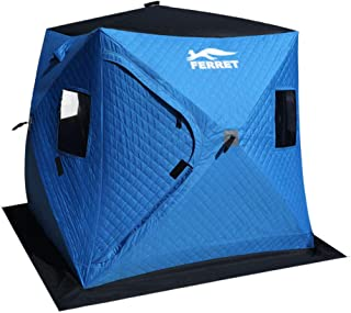 FERRET 3-4 Person 72 x 72 x 70 inches Waterproof Pop-up Portable Ice Shelter Tent Insulated Ice Shelter Fishing Tent with Carrier Bag