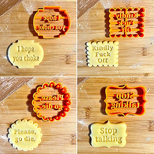 4PCS Cookie Molds With Good Wishes, Funny Cookie Molds for Baking, Cutters Shapes Baking Set for Kitchen DIY (Funny Wishes)