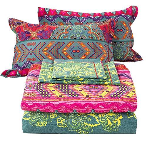 SexyTown-Bohemian Comforter Set King,Cotton Boho Chic Exotic Rose Red Teal Mandala Printed Bedding Reversible Striped Bed Comforter Winter 3PC (1 Boho Comforter+2 Pillow Shams)