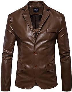 Saoye Fashion Slim Fit Mens Blazer Blazer Coat Faux Leather Biker Jacket Motorcycle Clothing Jacket Men Faux Fur Leather C...