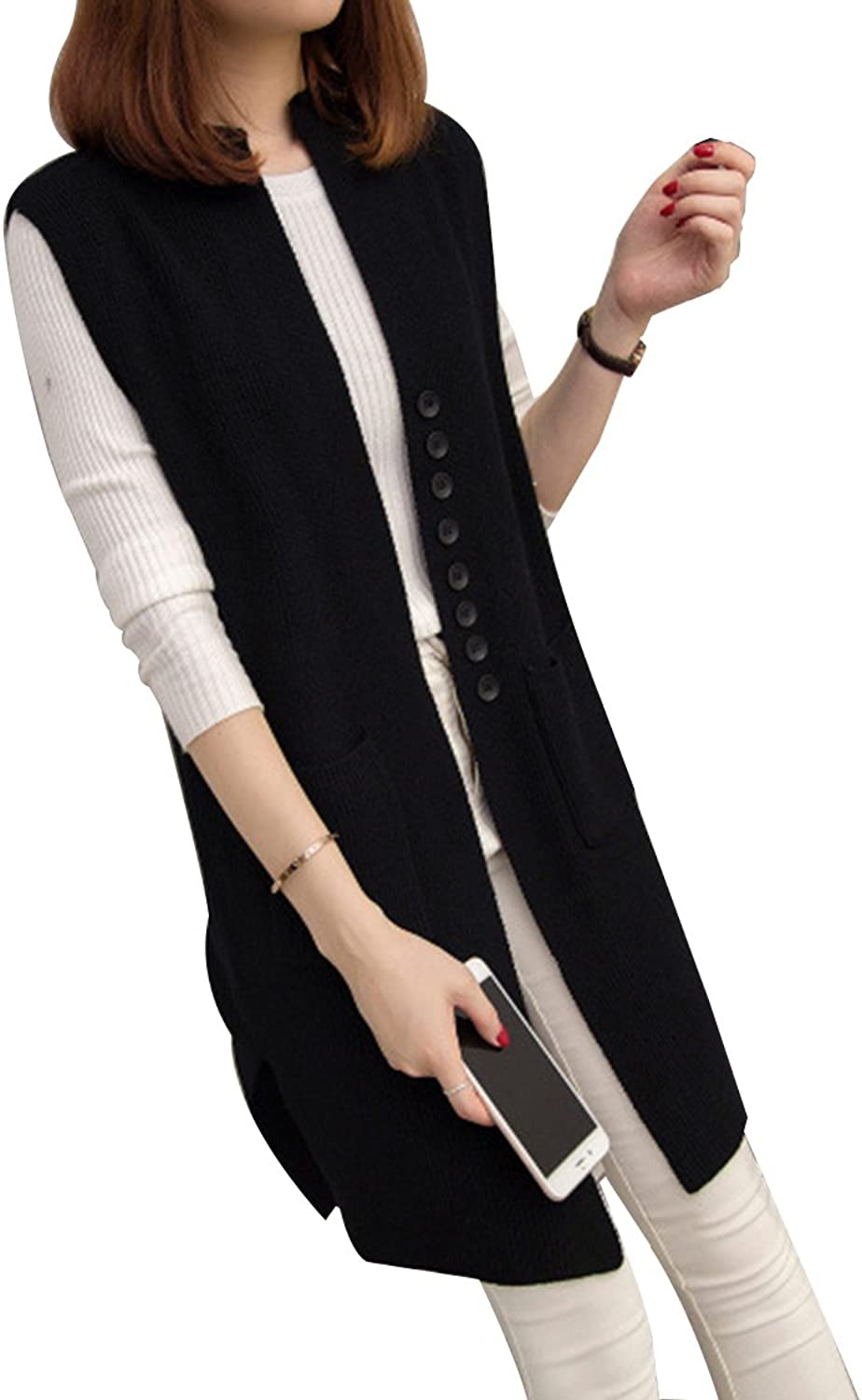Sovoyant Women Solid Sleeveless Open Front Knit Long Cardigan Jersey Vest Sweater