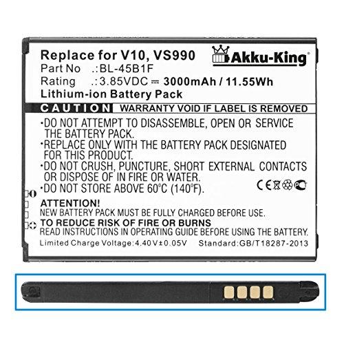 Akku-King Akku kompatibel mit LG BL-45B1F - Li-Ion 3000mAh - für Stylus 2 Plus, Stylo 2 Plus, F600, F720S, H900, H901, H960, H962, H968, K520, K530, K540