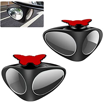 Teguangmei Car Blind Spot Mirrors for Car 360°Rotatable Double-sided Convex Wide Angle Visible Black Front Rear View Mirror Universal for Cars Truck SUV-2Pcs(Left+Right)