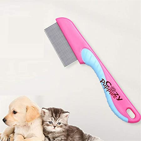 Cozy Puppies Amazing Stainless Metal Flea Comb for Pets Grooming Comfortable to Use Dogs, Cats, Rabbit Fur Detangling Tool Flea and Tick Prevention for Animals, Flea Treatment Flea Prevention