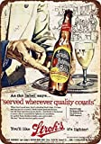 SIGNCHAT 1957 Stroh 's Bohemio Cerveza Aspecto Metal Estaño Sign 20,3 x 30,5 cm