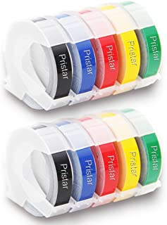 Pristar Durable Plastic 3D Embossing Tape for Dymo Label Makers DYM12966 Organizer Xpress Pro, 3/8 In. X 9.8 Ft, White on Black/Red/Blue/Yellow/Green, 10-Pack Replacement Dymo Label Maker Refill Tapes