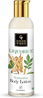 Good Vibes Liquorice Brightening Body Lotion - 200 ml - Hydration for Pigmentation, Rough and Uneven Skin - Paraben and Cr...