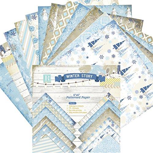 Oriental riverkit 24 Stück Gemustertes Papier Scrapbooking Papier, EIS- Und Schneemuster, Karten Hintergrund Papier, Einseitiges Muster Bastelpapier, 15,2 X 15,2 cm