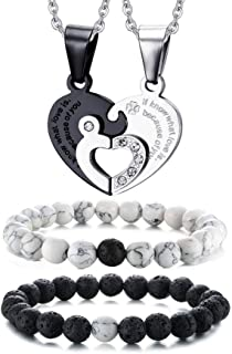 4 Pcs Matching Couple Heart Puzzle Piece Necklace Pendant with Yin Yang Distance Bead Bracelet Gift for Him and Her Couples