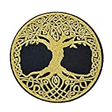 Sparkle Golden Yggdrasil The Tree of Life in Norse Embroidered Iron on sew on Patch Applique