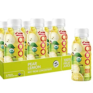 OOGLI Pear-Lemon Organic Juice, 8 fl oz (Pack of 6), NOT From Concentrate, 100% Natural, USDA Organic, Kosher Certified, Non-GMO, No Additives