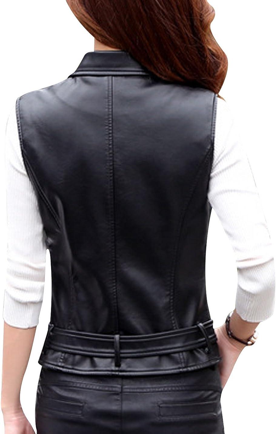 Uaneo Women's Notch Lapel Zip Up Faux Leather Motorcycle Short Belted Jacket Vest (Black, Large)