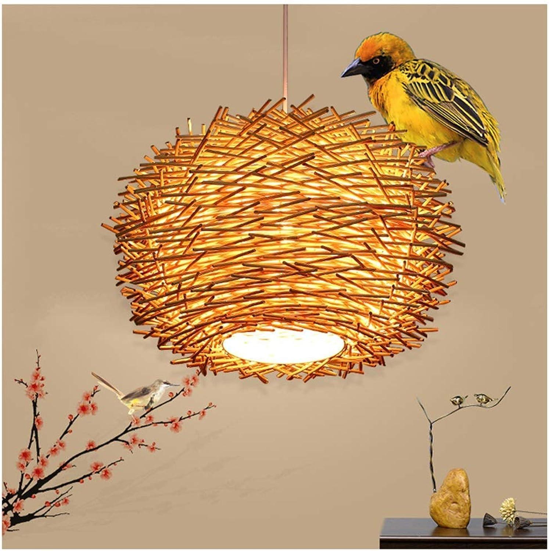 Rattan-Kronleuchter-Anhnger-Deckenleuchte-Beleuchtung - rustikal Holzfarbe Restaurant-Bar LED-moderner gewebter Vogelnest-Leuchter - rund (Farbe  40cm), 50cm