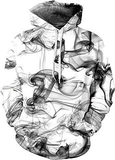 RAISEVERN Felpa con Cappuccio Grafico, Uomo Donna Unisex Funny 3D Printed Graffiti Pullover Felpe con Cappuccio Felpe con ...
