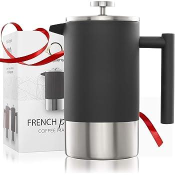 Cafetera Embolo Acero Inoxidable Doble Pared y Graduado | Tetera/Cafetera Francesa 1L | Conformidad CE: Amazon.es: Hogar