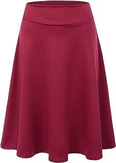 Womens High Waist Midi A-Line Skirt