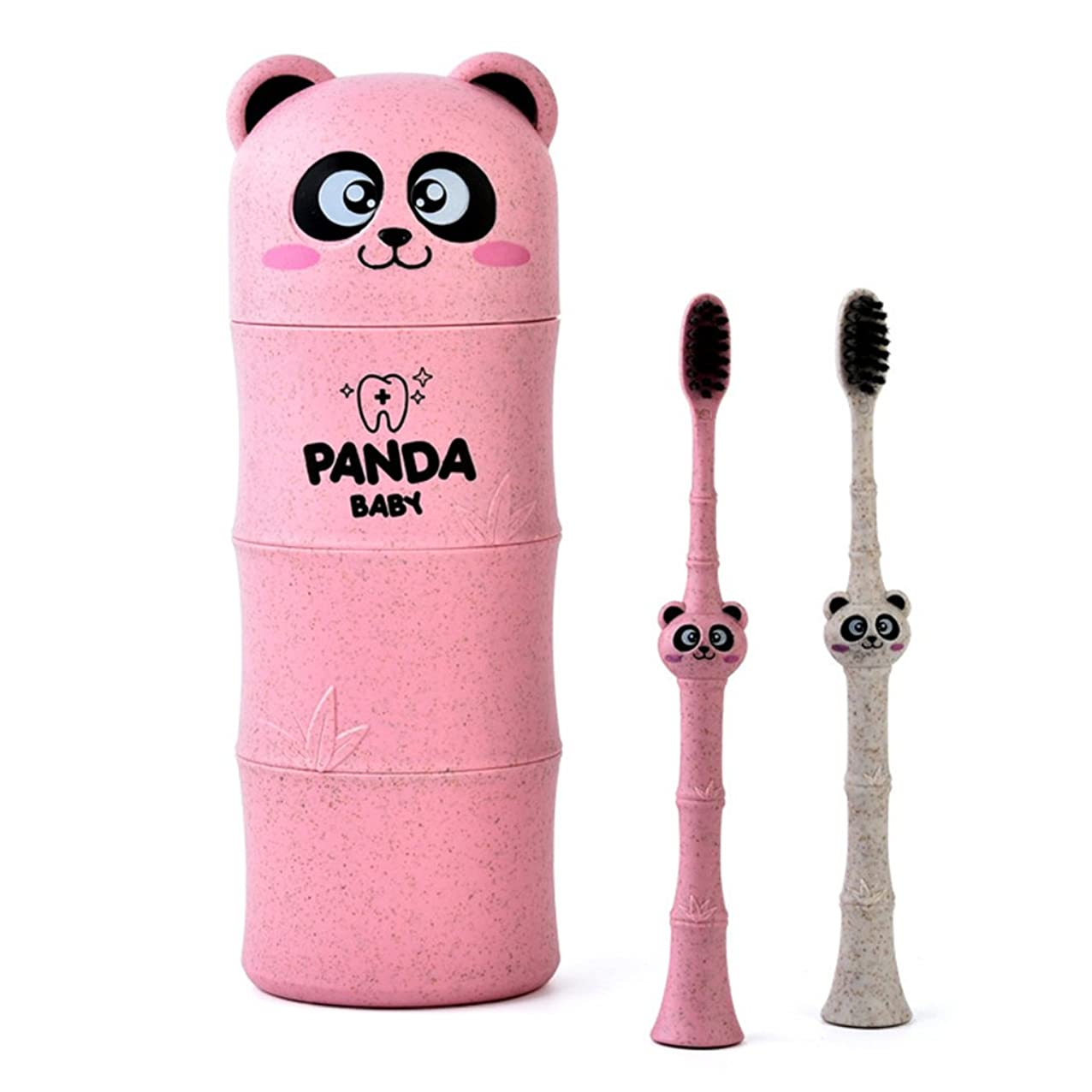 信頼性のある蒸留湿原Manyao 1セットベビー歯ブラシ小麦ストロー漫画パンダ幼児子供歯科口腔ケア (ピンク)