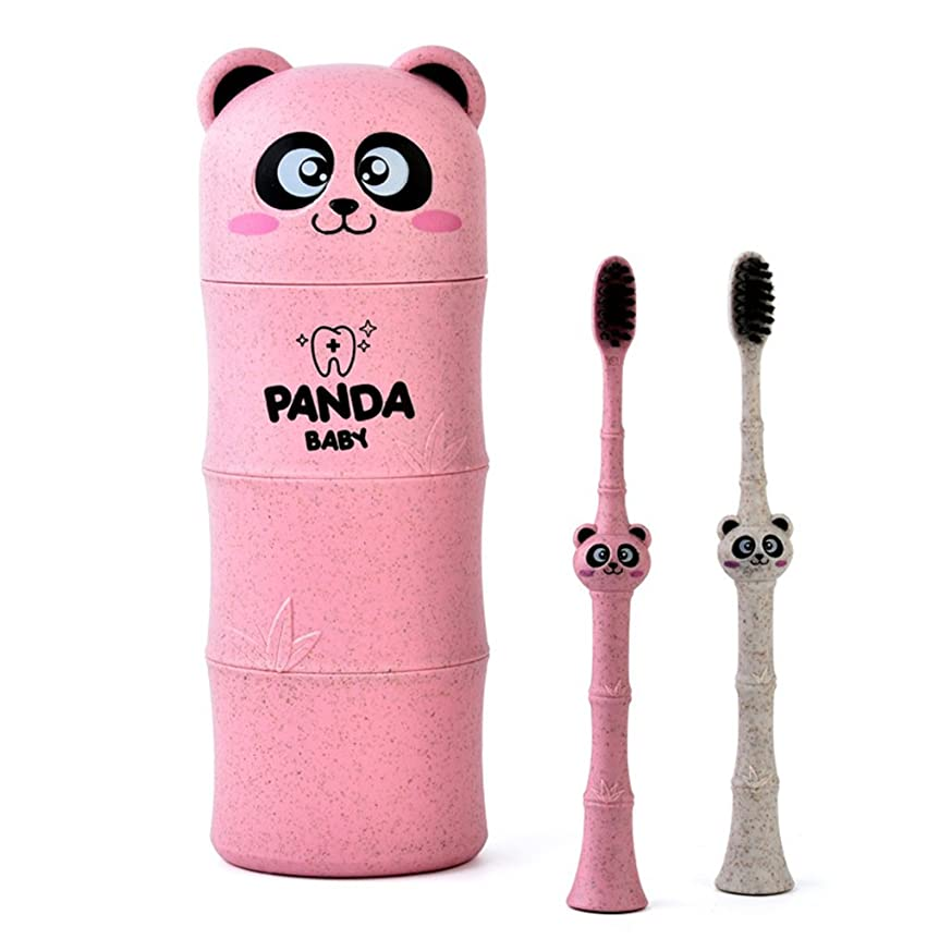 より多い知覚的注文Manyao 1セットベビー歯ブラシ小麦ストロー漫画パンダ幼児子供歯科口腔ケア (ピンク)