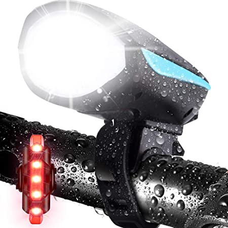 LETOUR Bike Light with Loud Bike Horn, Rechargeable Bicycle Light Waterproof Cycling Lights, Bicycle Light Front with Loud Sound Siren, 3 Lighting Modes 5 Sounds