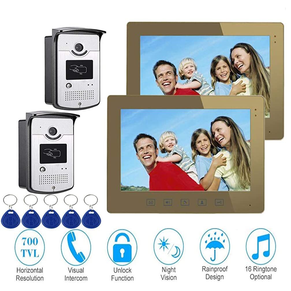 TQ 10 inch Intelligent Video doorbell Remote intercom Access Control System HD 1000TVL Infrared Camera,B