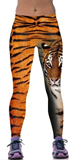Sister Amy Women's Fitness Hihg Waist Yoga Pants Printed Stretch Ankle Legging Tiger