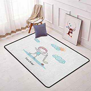Hockey Multifunction Childish Hand Drawn Style Activity Little Kid with The Stick and Ball in a Sunny Day Non-Sliding Indoor Carpet W31.5 x L59 Inch Multicolor