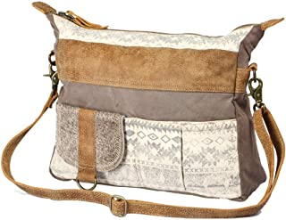 Myra Bag Tribe Strip Upcycled Canvas & Cowhide Leather Bag S-1210