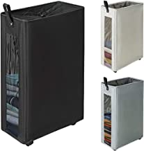 """ZERO JET LAG 27 inches Slim Laundry Hamper Large Tall Laundry Basket on Wheels Clear Window Visible Dirty Clothes Hamper Thin Clothes Storage Standable Corner Bin Handy 16""""×8.6""""×27"""" Black"""