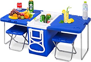 Giantex Rolling Cooler Picnic Table Multi Function for Picnic Fishing Portable Storage Food Beverage Included Foldable Table W/ Two Chairs Camping Trip Cooler Children Size (Blue)
