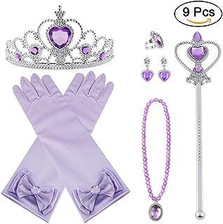 Vicloon Nuovi Costumi da Principessa Set di 9 Pezzi Dono da Tiara, Guanti, Bacchetta Magica, Anello, Orecchino, Collana da...