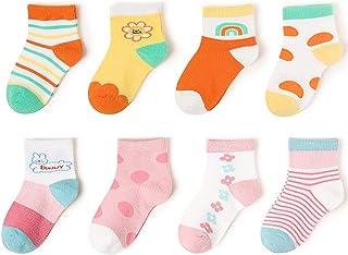 8 Pairs Baby Boys Girls Cute Thin Socks, White Fun Kids Socks, Little Childrens Kawaii Animal Crew Socks for Girls