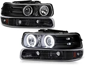 VIPMOTOZ Black CCFL Halo Ring Projector Headlight + Front Bumper Parking Turn Signal Lamp Housing Assembly Replacement For 1999-2002 Chevy Silverado 1500 2500 3500 & 2000-2006 Tahoe Suburban