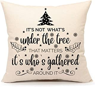 4TH Emotion Christmas Tree Funny Quote Farmhouse Throw Pillow Cover Cushion Case for Sofa Couch 18x18 Inches Cotton Linen (Under The Tree)