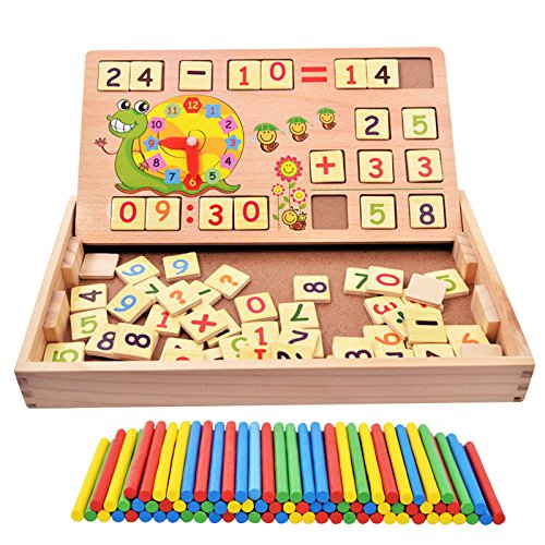 100PCS Wooden Number Sticks + 70PCS Bricks Blocks Mathematics Material Educational Toy + Snail Clock Teaching Learning Time For Kid Child Early Math Education Learning
