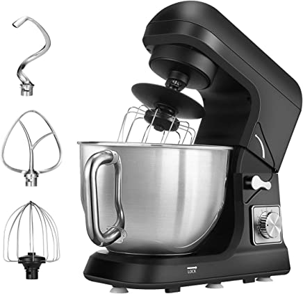 Stand Mixer, Dough Mixer with 5 Qt Stainless Steel Bowl, 6 Speeds Tilt-Head Food Mixer, Kitchen Electric Mixer with Double Dough Hooks, Whisk, Beater, Pouring Shield, Black