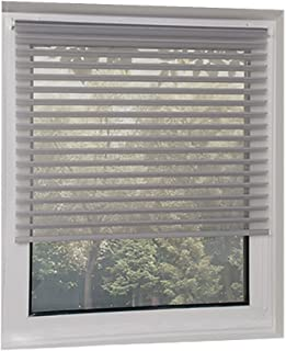 "SCHRLING No Drill Light Filtering Sheer Blind Shade Shangri-la Roller Blinds,Custom Size (Grey,Width:14""- 47"",Height:14""-63"")"