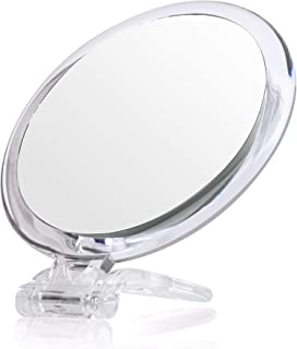 5Inches 20X Double-Sided Magnifying Mirror &Slant Tip and Pointed Eyebrow Tweezer Set,Perfect for Precise Makeup Application for Facial Hair, Blackhead and Tick Remover. (with Stand, Silver)