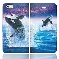 iPhone6S iPhone6 手帳型 ケース カバー シャチ model02 あまみ藤奈 イルカ クジラ 宇宙 グッズ
