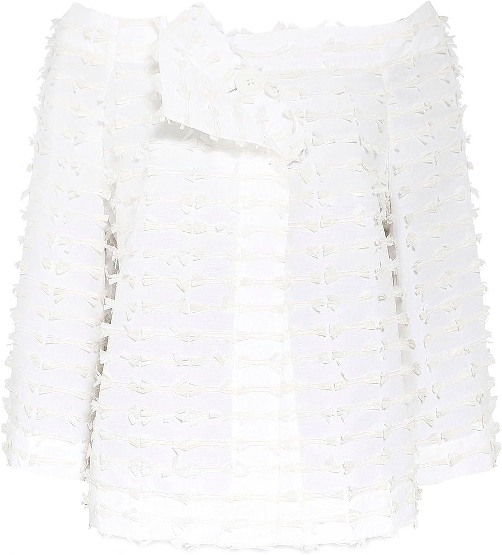Xenia Design Women's Textured Demi Cropped Jacket Cream