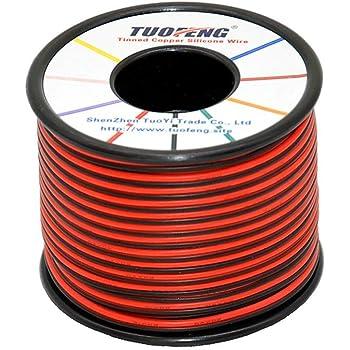 50 Amp 6 mm² Single Core Brin Cuivre Câble 12 V 24 V paroi mince fil rouge noir