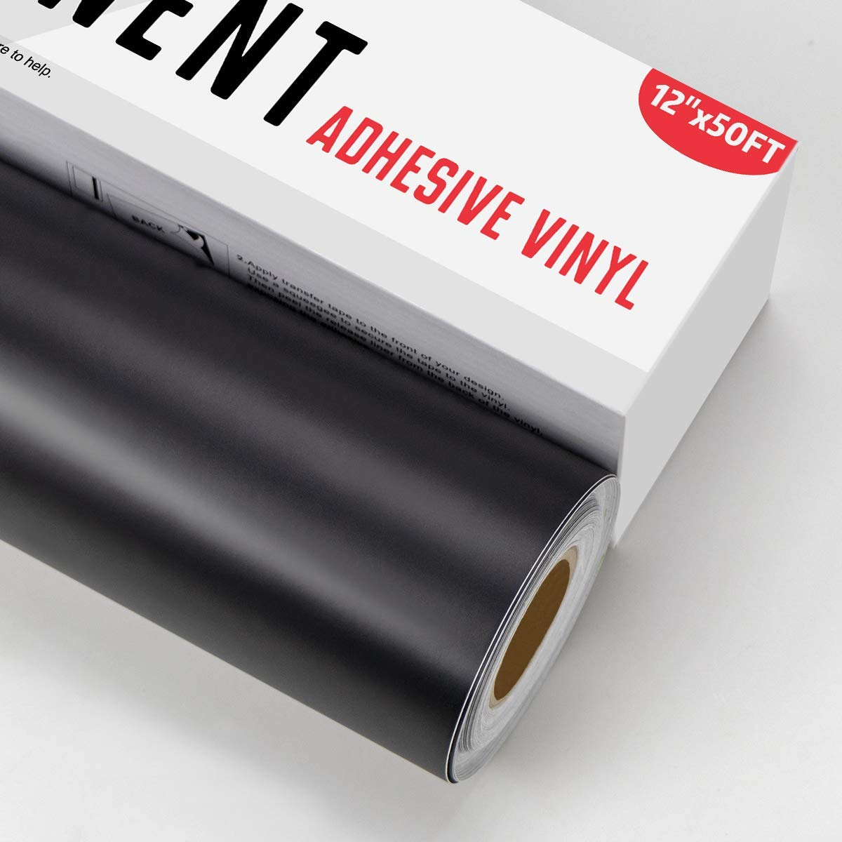 YRYM HT Black Permanent Adhesive Vinyl Roll - 12 x 50 FT for Signs, Scrapbooking, Adhesive Vinyl Sheets for Cricut, Silhouette and Cameo Cutters