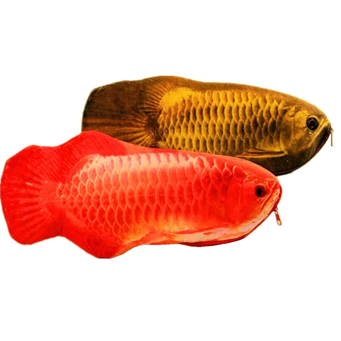 Funnylive Simulation Fish Pencil Case Crucian Carp Stationery Bags Creative Coin Purse Set of 2