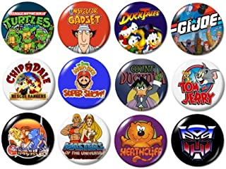 80's TV Cartoons Buttons Pins (set #2)
