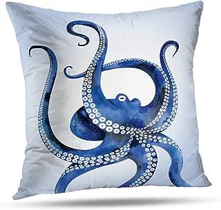 soopat Soft Soild Decorative Square Throw Pillow Covers Set Cushion Case navy nautical steampunk octopus vintage kraken outdoor pillow for Sofa Bedroom Car 20 x 20 Inch 51 x 51 Cm