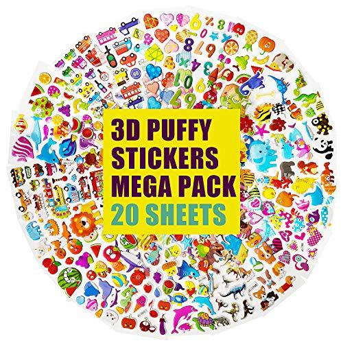 IKWOLETI 3D-Aufkleber für Kinder und Kleinkinder 500+ Puffy-Aufkleber Bulk-Kinderaufkleber für das Scrapbooking Anpassen von Planer-Notizbüchern (20 Verschiedene Blätter)